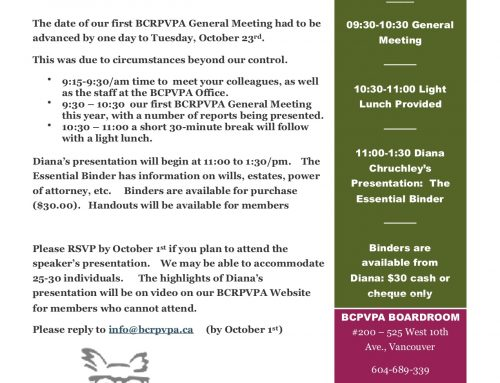 Our next General Meeting is October 23